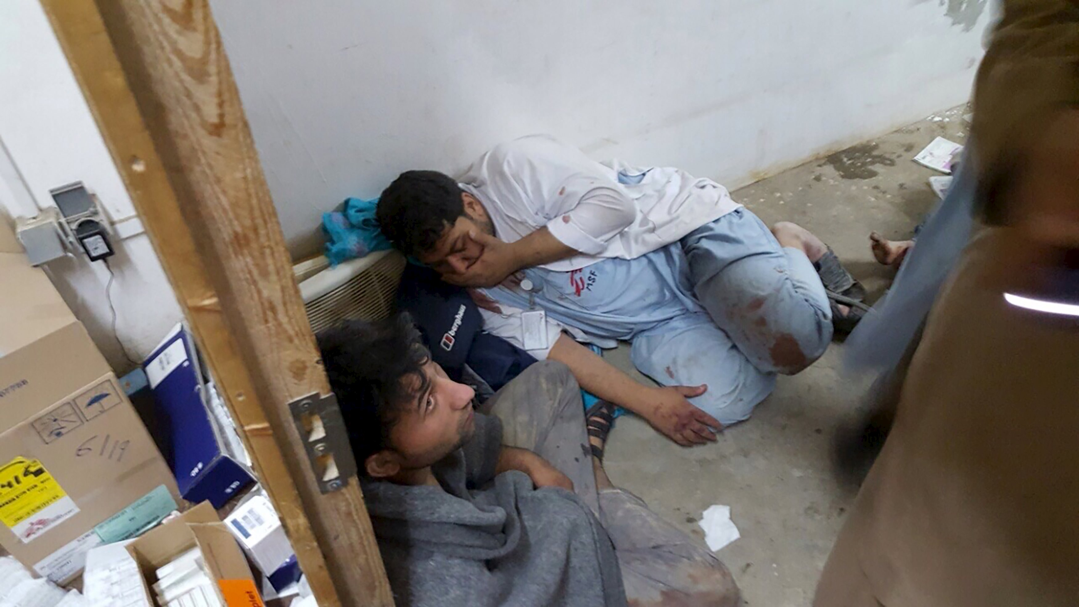 Afghan staff reacting inside a Medicins Sans Frontieres Hospital after an air strike in the city of Kunduz, on Saturday.  The US military acknowledged it may have bombed a hospital run by the medical aid group. Photo: Reuters