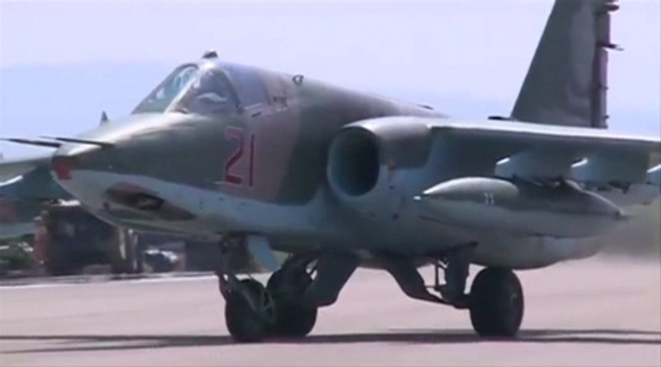 A frame grab taken from footage released by Russia's Defence Ministry October 5, 2015, shows a Russian air force jet taxiing on the tarmac of Heymim air base in Syria. More than 40 Syrian insurgent groups including the powerful Islamist faction Ahrar al-Sham have called on regional states to forge an alliance against Russia and Iran in Syria, accusing Moscow of occupying the country and targeting civilians. REUTERS/Ministry of Defence of the Russian Federation/Handout via Reuters  ATTENTION EDITORS - FOR EDITORIAL USE ONLY. NOT FOR SALE FOR MARKETING OR ADVERTISING CAMPAIGNS. THIS IMAGE HAS BEEN SUPPLIED BY A THIRD PARTY. IT IS DISTRIBUTED, EXACTLY AS RECEIVED BY REUTERS, AS A SERVICE TO CLIENTS. REUTERS IS UNABLE TO INDEPENDENTLY VERIFY THE AUTHENTICITY, CONTENT, LOCATION OR DATE OF THIS IMAGE. FOR EDITORIAL USE ONLY. NO SALES.