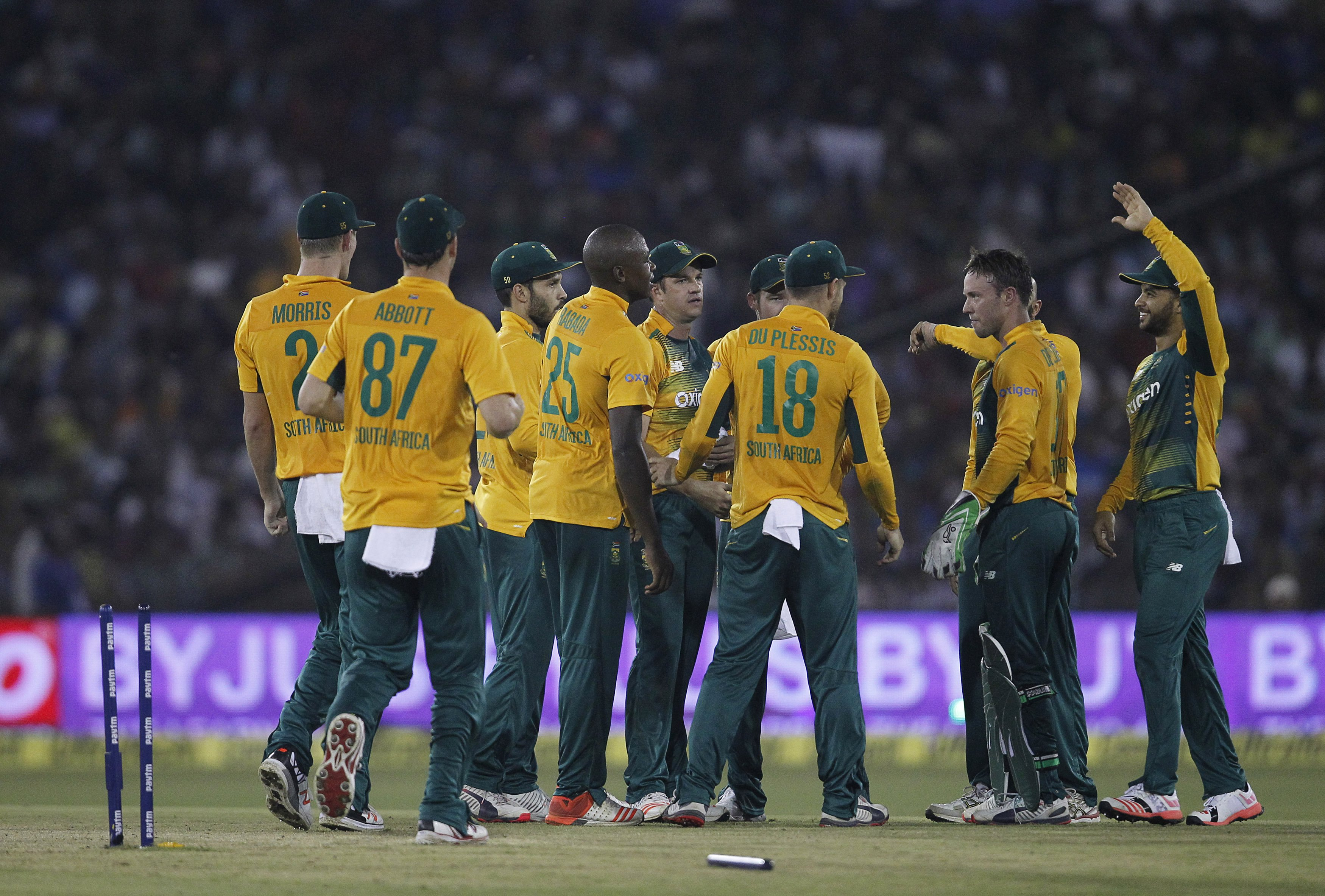 South Africa's players celebrate the dismissal of India's Ambati Rayudu during their second Twenty20 cricket match in Cuttack, India, October 5, 2015. Photo: Reuters