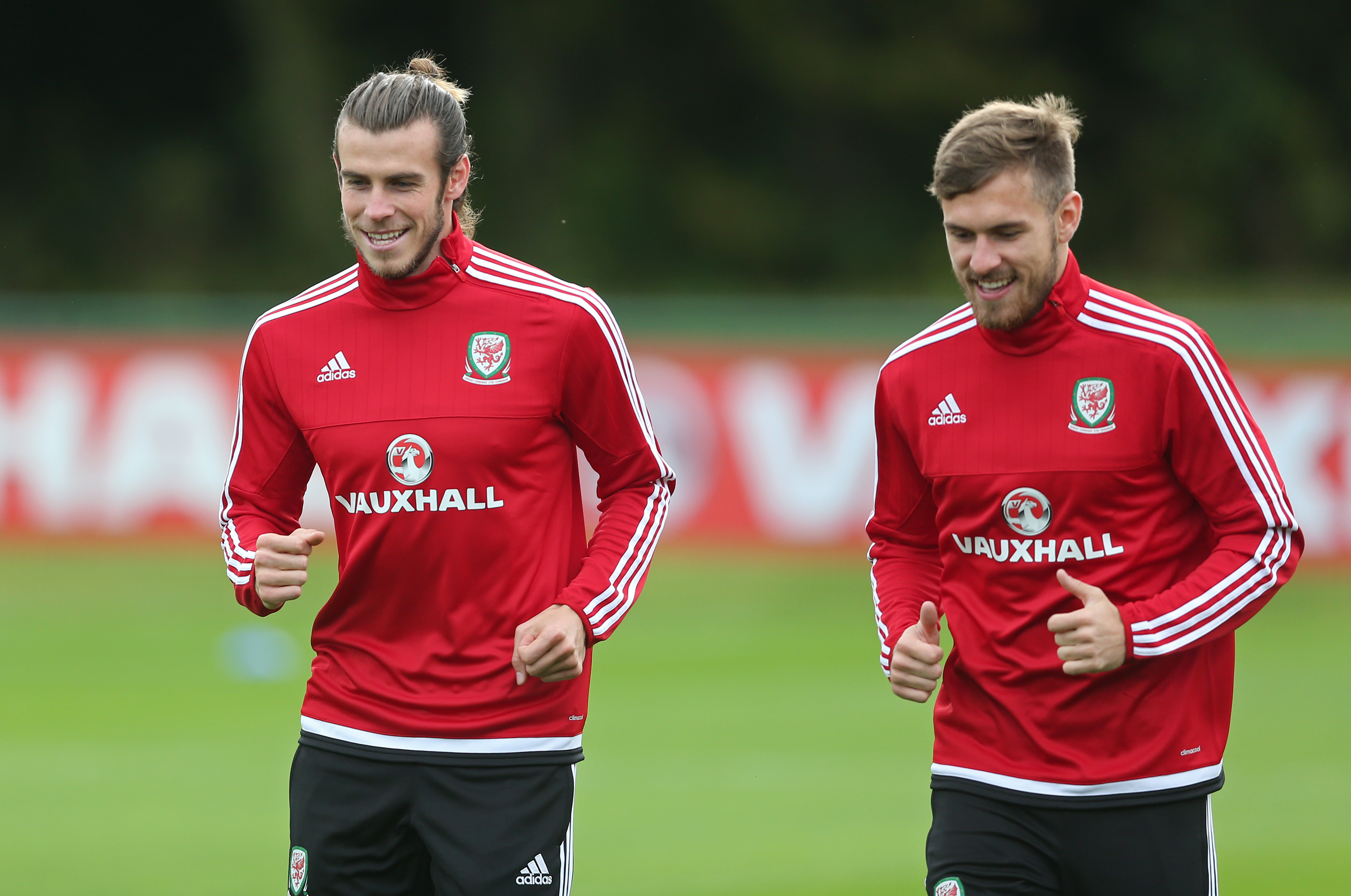 Football - Wales Training - The Vale Resort, Hensol, Vale of Glamorgan, Wales - 6/10/15nWales' Gareth Bale and Aaron Ramsey during trainingnAction Images via Reuters / Matthew ChildsnLivepicnEDITORIAL USE ONLY.