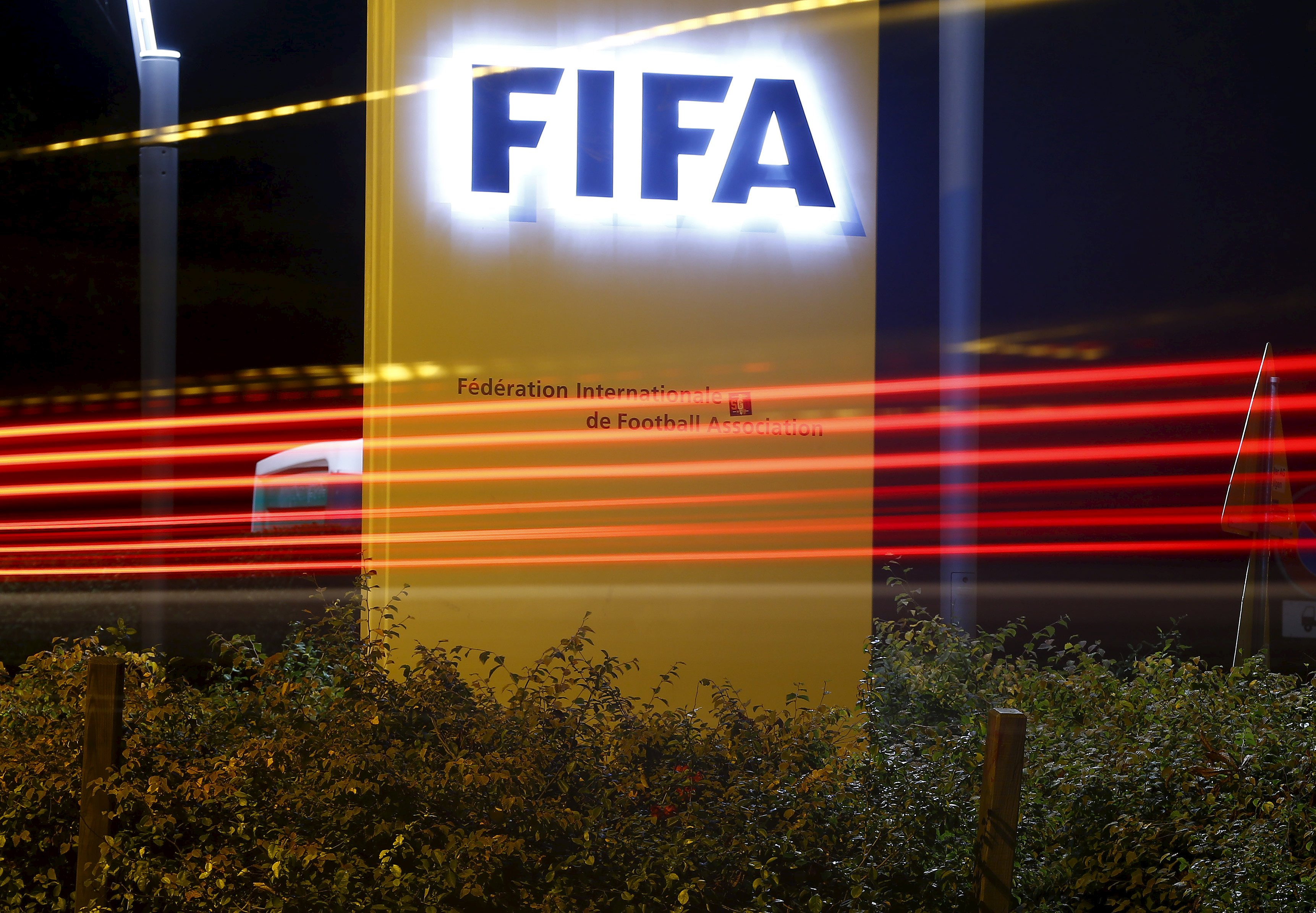 The FIFA logo is seen outside their headquarters in Zurich October 7, 2015. Photo: Reuters