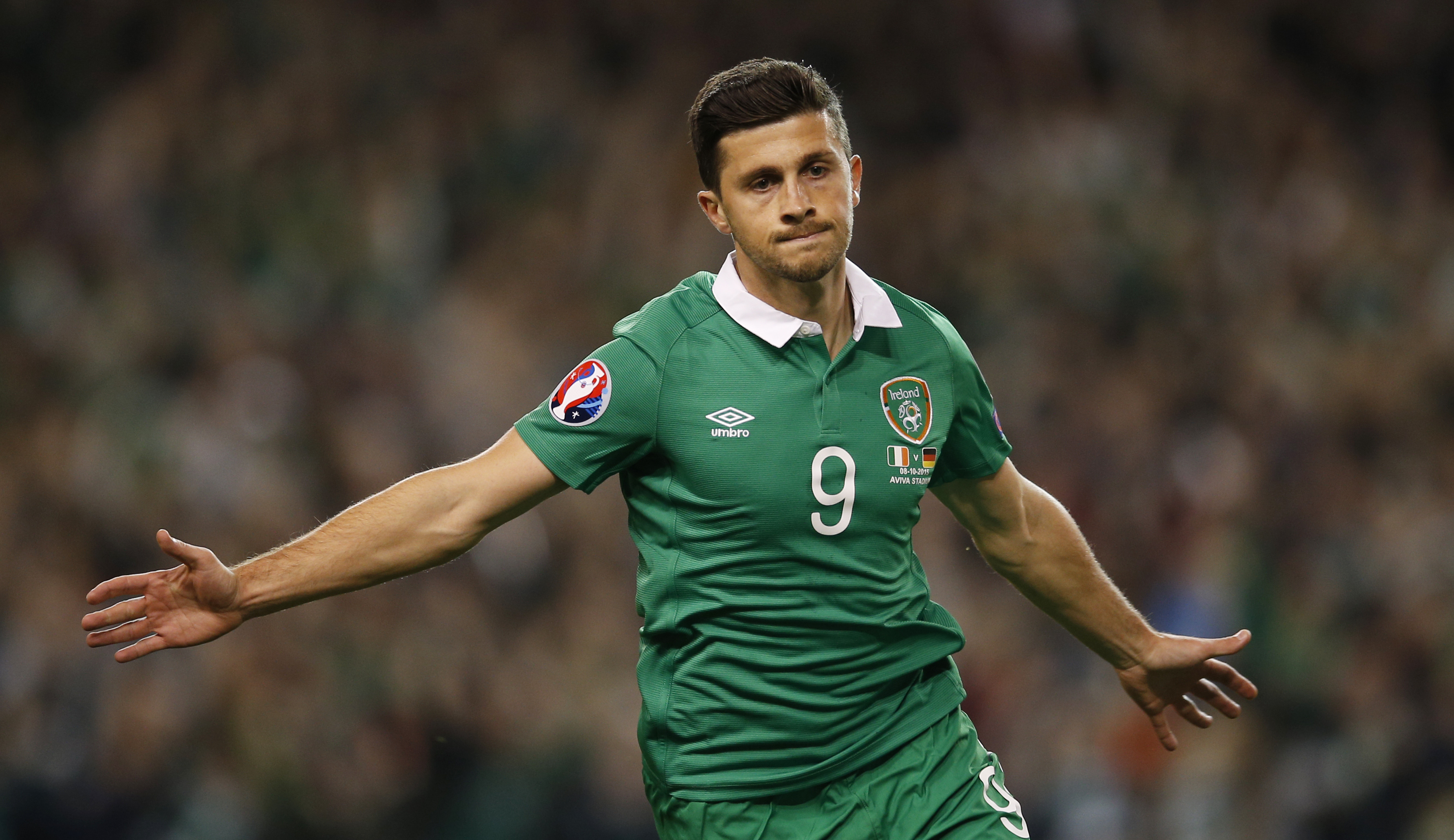 Football - Republic of Ireland v Germany - UEFA Euro 2016 Qualifying Group D - Aviva Stadium, Dublin, Republic of Ireland - 8/10/15nShane Long celebrates after scoring the first goal for Republic of IrelandnAction Images via Reuters / Andrew CouldridgenLivepicnEDITORIAL USE ONLY.