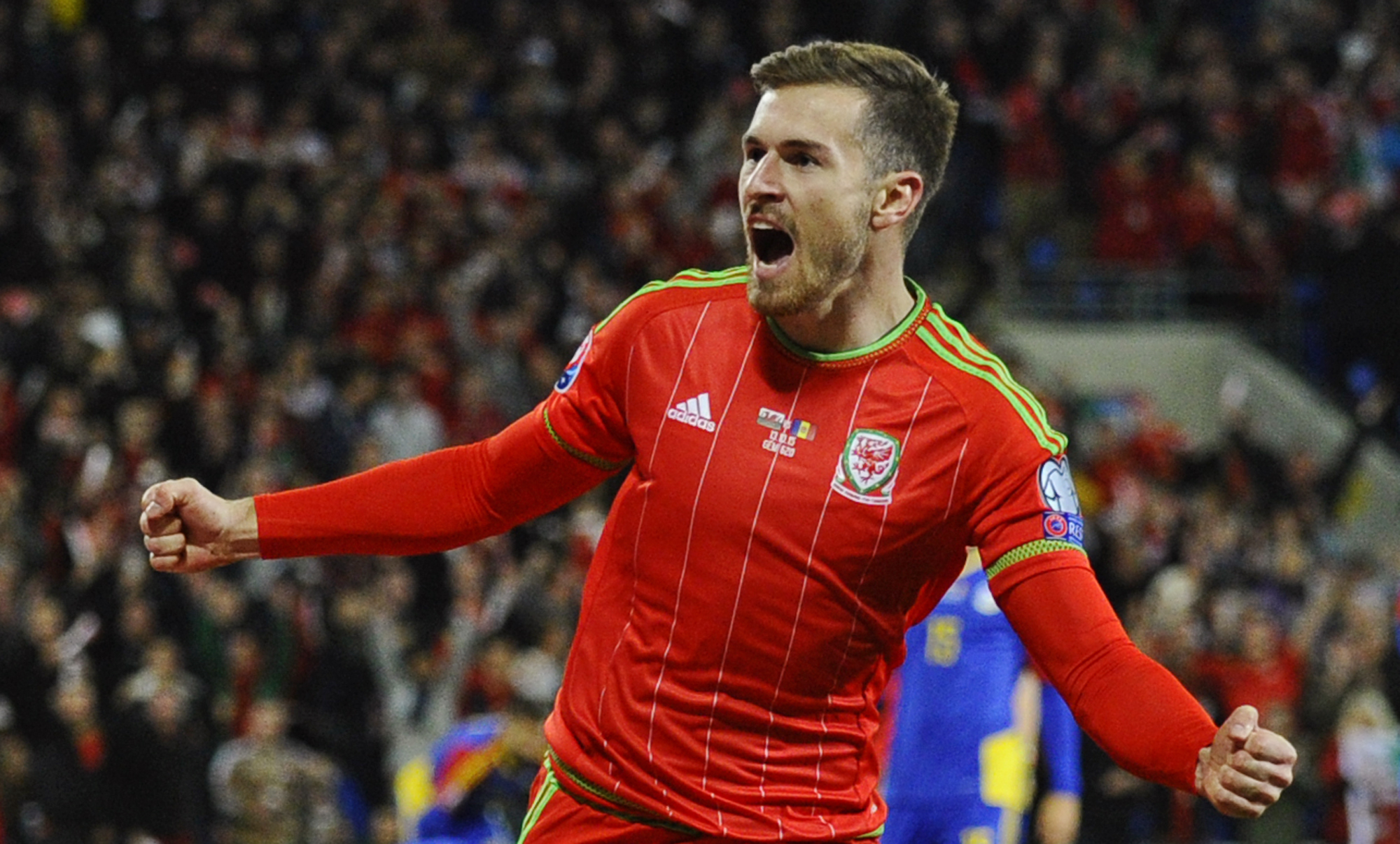 Football - Wales v Andorra - UEFA Euro 2016 Qualifying Group B - Cardiff City Stadium, Cardiff, Wales - 13/10/15nAaron Ramsey celebrates after scoring the first goal for WalesnReuters / Rebecca NadennLivepicnEDITORIAL USE ONLY.