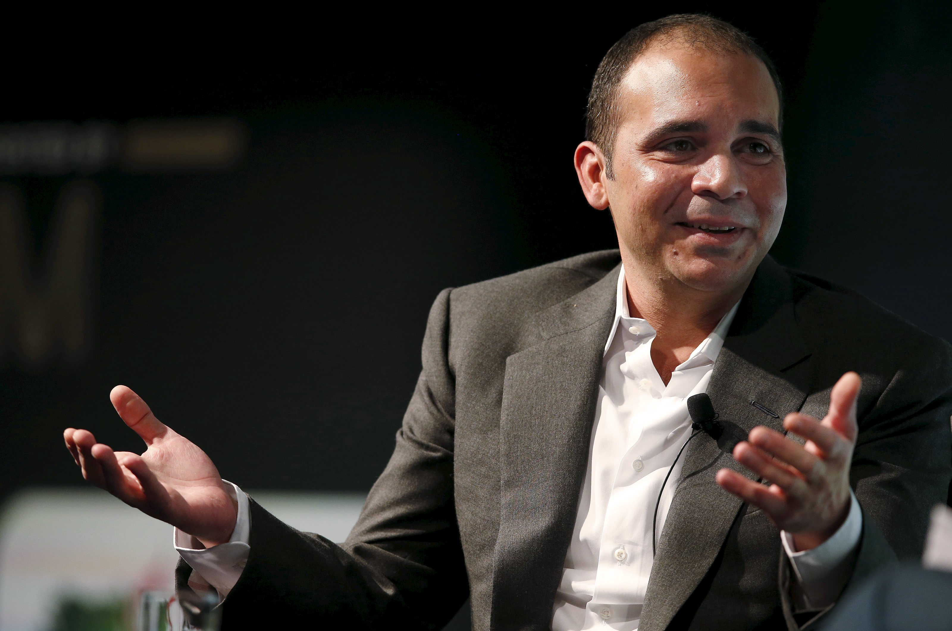 FIFA vice-president Prince Ali Bin Al Hussein of Jordan gestures during a speech on the future of football at the Soccerex convention in Manchester, northern Britain, in this file picture taken September 7, 2015. Prince Ali Bin Al Hussein of Jordan formally submitted his candidature to be FIFA president on October 15, 2015, pledging to restore the reputation of world soccer's scandal-ridden governing body.    REUTERS/Phil Noble/Files