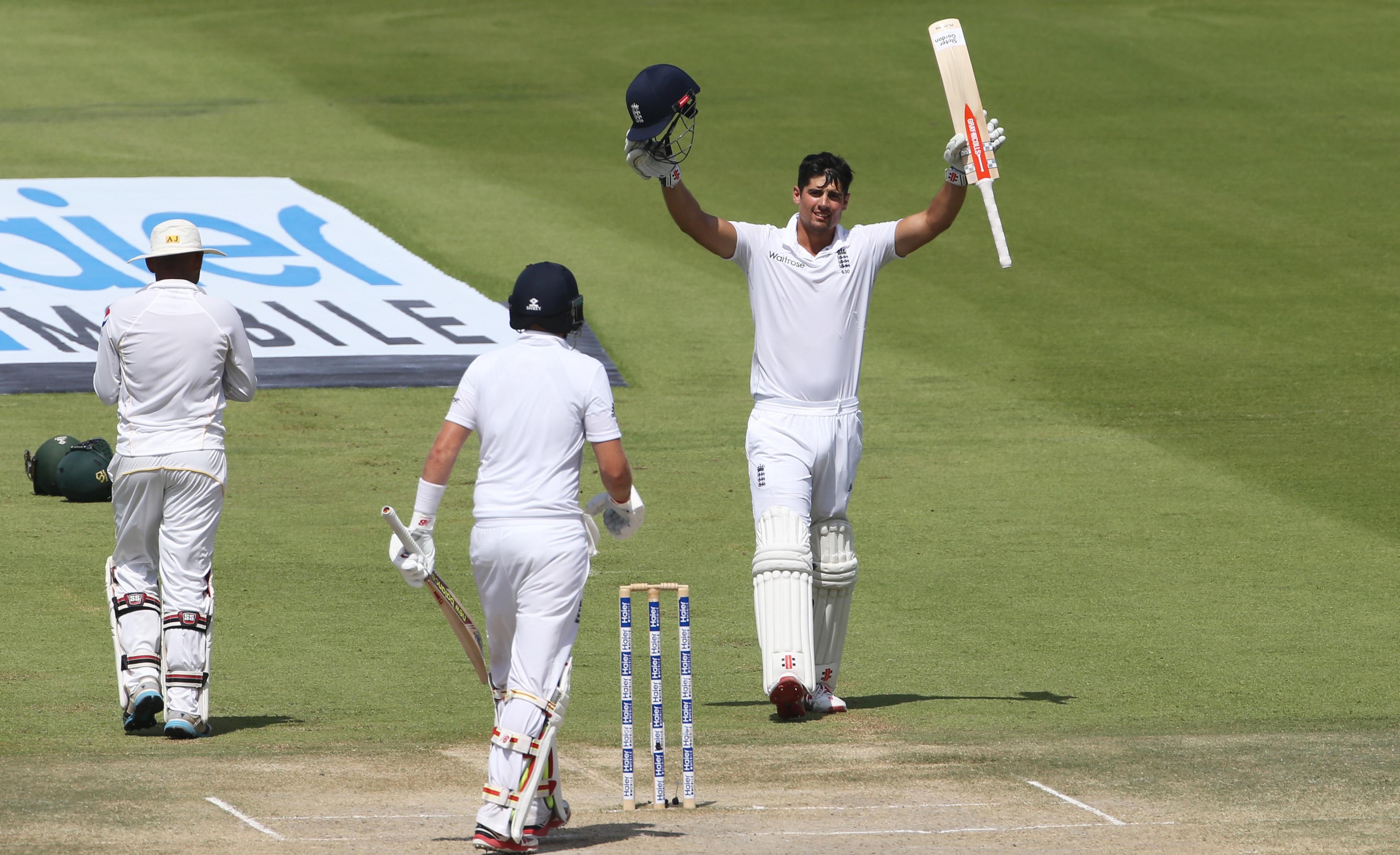 Cricket - Pakistan v England - First Test - Zayed Cricket Stadium, Abu Dhabi, United Arab Emirates - 16/10/15nEngland's Alastair Cook celebrates reaching his double centurynAction Images via Reuters / Jason O'BriennLivepic
