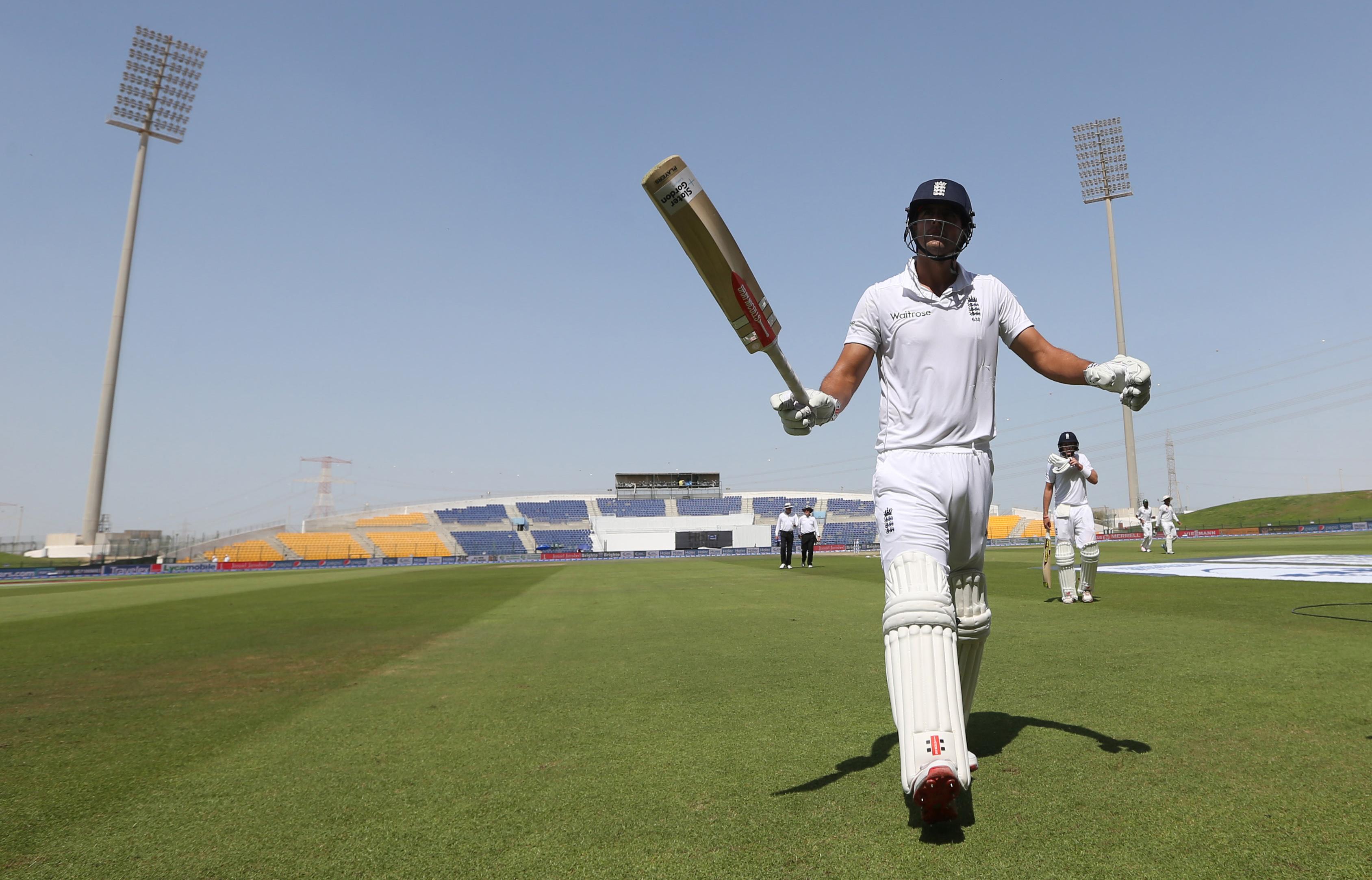 Cricket - Pakistan v England - First Test - Zayed Cricket Stadium, Abu Dhabi, United Arab Emirates - 16/10/15nEngland's Alastair Cook walks off unbeaten at lunchnAction Images via Reuters / Jason O'BriennLivepic