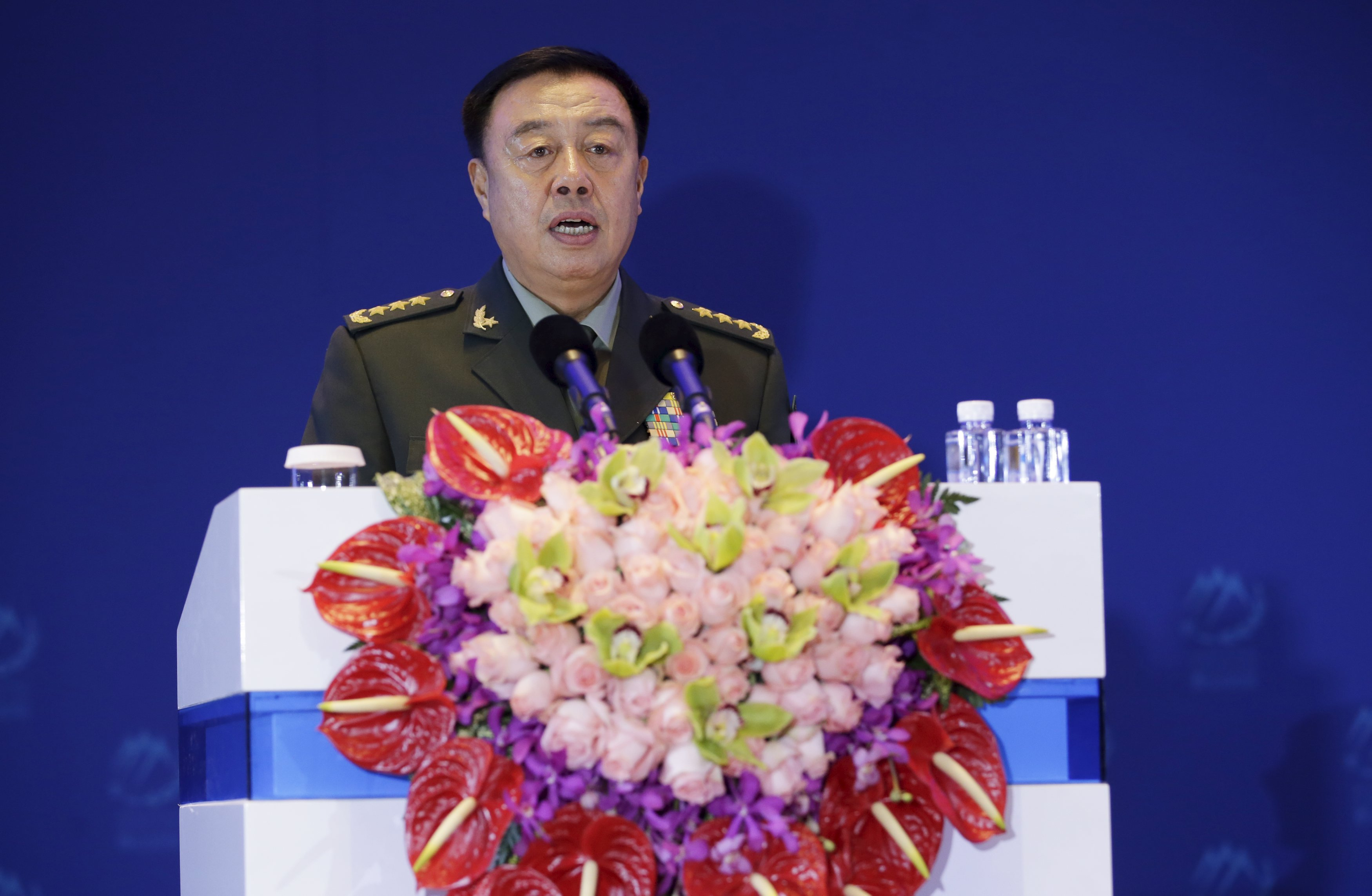 China's Central Military Commission Vice Chairman Fan Changlong delivers a speech at the sixth Xiangshan Forum in Beijing, China, October 17, 2015. Photo: Reuters