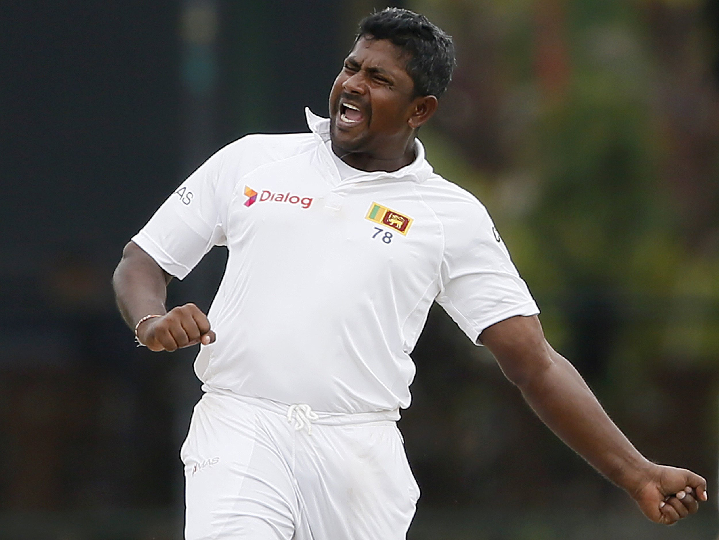 Sri Lanka's Rangana Herath celebrates after taking the wicket of West Indies' Denesh Ramdin (not pictured) during the final day of their second test cricket match in Colombo October 26, 2015. REUTERS/Dinuka Liyanawatte.