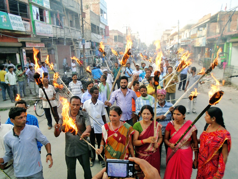 peple participating in a masal rally in support of the on-going protest in the tarai in Rajbiraj on Monday, October 12, 2015. Photo: Byas Shankar Upadhaya