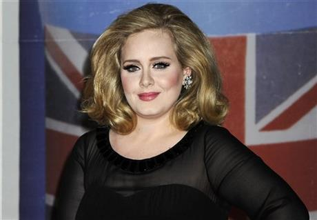 In this Feb. 21, 2012 file photo, performer Adele arrives for the Brit Awards 2012 at the O2 Arena in London. Photo:Ap