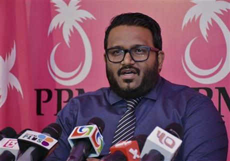 In photo taken on Wednesday, Oct. 7, 2015, Maldives Vice President Ahmed Adeeb speaks to media in Male, Maldives. The vice president of the Maldives will be charged with high treason after being arrested Saturday, Oct. 24, 2015 in connection with an explosion aboard the president's boat last month that authorities have called an assassination attempt, officials said. Photo:AP