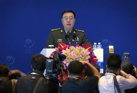 Gen. Fan Changlong, vice chairman of China's Central Military Commission, speaks at the Xiangshan Forum, a gathering of the region's security officials, in Beijing, Saturday, Oct. 17, 2015.  Photo: AP
