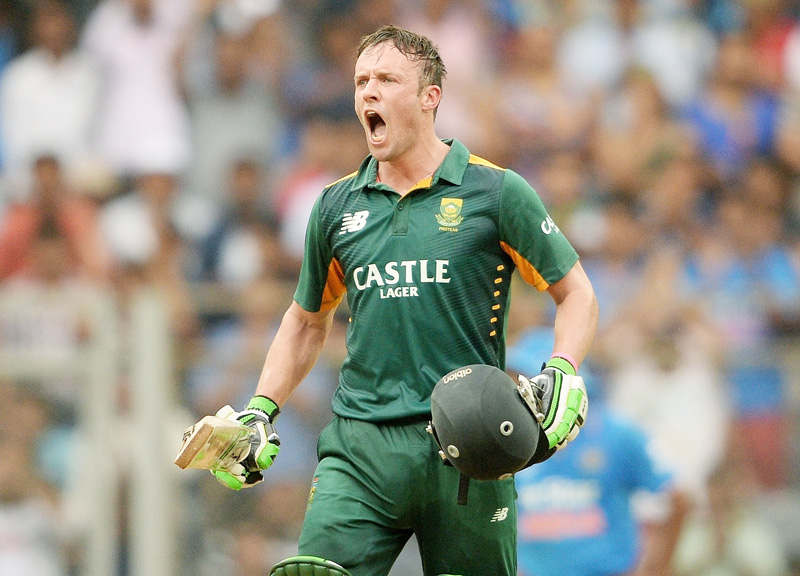 South Africa's AB de Villiers celebrates after scoring a century against India during their fifth ODI match at the Wankhede Stadium in Mumbai on Sunday. Photo: AFP