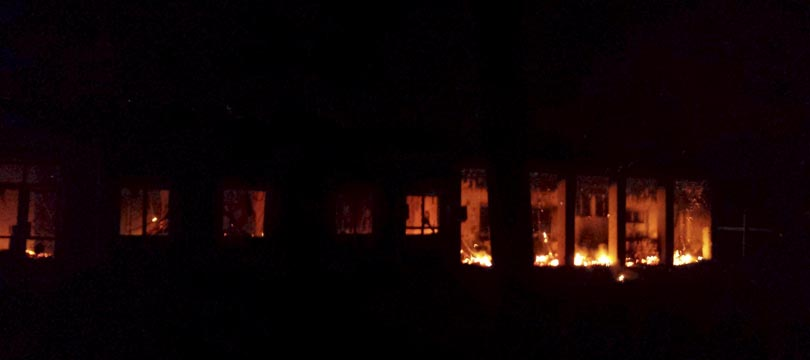 Fire is seen inside a Medecins Sans Frontieres (MSF) hospital building after an air strike in the city of Kunduz, Afghanistan in this October 3, 2015 MSF handout photo. The U.S. military on Saturday acknowledged it may have bombed a hospital run by medical aid group Medecins Sans Frontieres in the Afghan city of Kunduz in an air strike that killed at least nine people and wounded 37. REUTERS/Medecins Sans Frontieres/Handout