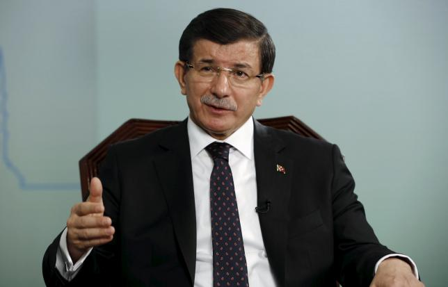Turkish Prime Minister Ahmet Davutoglu talks during an interview with Reuters in Istanbul, Turkey, October 14, 2015.  REUTERS/Murad Sezer