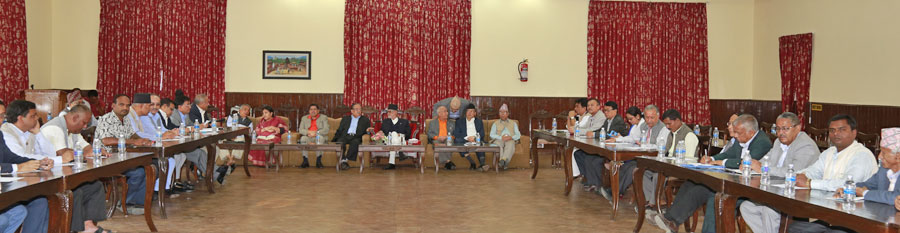 Leaders of parties representing in the Parties taking part in an all-party meeting at Baluwatar to discuss the formation of consensus government on Monday, October 5, 2015. Photo: RSS