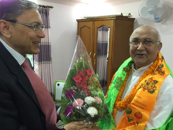 Indian Ambassador Ranjit  Rae at Prime Minister KP Sharma Oli's residence on October 12, 2015, Photo: Indian Embssay in Kathmandu