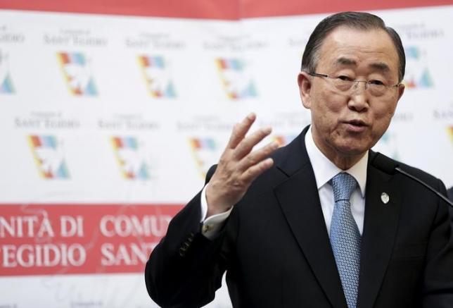 United Nations Secretary-General Ban Ki-moon speaks during his visit to the Saint Egidio Catholic in Rome, October 17, 2015. REUTERS/Yara Nardi