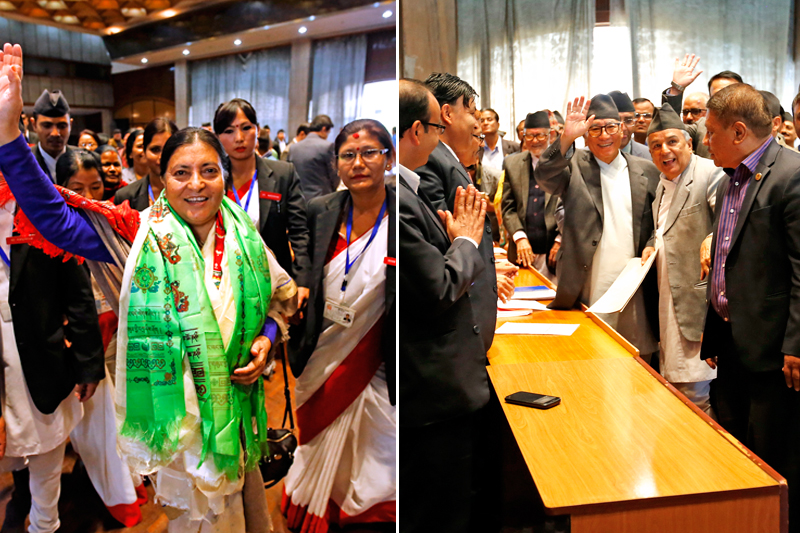 (Left) CPN-UML Vice-chair Bidhya Devi Bhandari waving to mediapersons after registering her candidacy for the countryu2019s presidency; Nepali Congress leader Kul Bahadur Gurung waves after filing his nomination for the same post, at the Legislature-Parliament, in Kathmandu, on Tuesday. Photos: THT