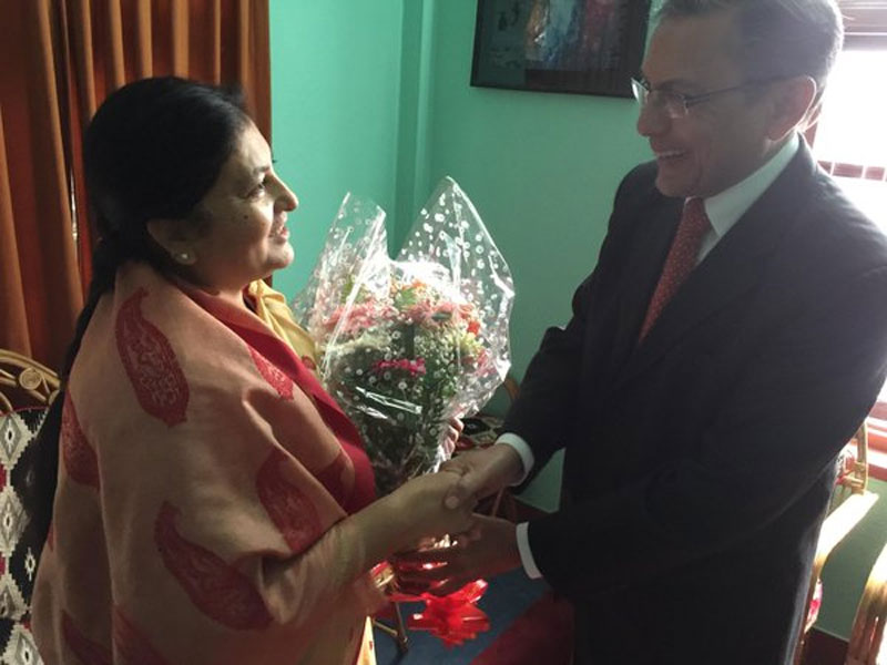 Indian Ambassador to Nepal Ranjit Rae congratulates newly elected President Bidya Devi Bhandari, on October 29, 2015. Photo: Indian Embassy in Kathmandu