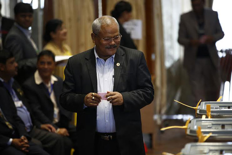 Madhesi Janaadhikar Forum-Democratic Chairman Bijay Kumar Gachhadar cast his vote during the Vice-presidential election held at the Legislature-Parliament building in New Baneshwor of the Capital on Saturday, October 31, 2015. Photo: Skanda Gautam