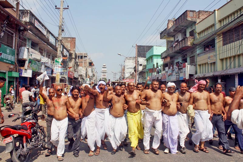 Supporters of the  Federal Inclusive Madhesi Front participating in a half-nude u0091dhoti rallyu0092 in Birgunj, on Friday. Photo: THT