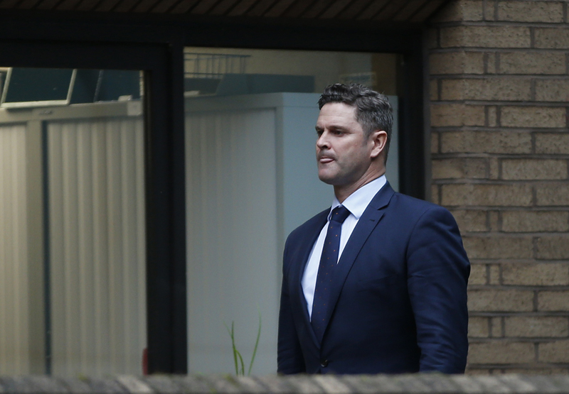 Former New Zealand cricketer Chris Cairns arrives at Southwark Crown Court to stand trial for perjury in London, Monday, Oct. 5, 2015. A jury for the month-long trial is expected to be selected in the Court  but the case could be adjourned for up to a week, as legal arguments take place before the judge. (AP Photo/Alastair Grant)