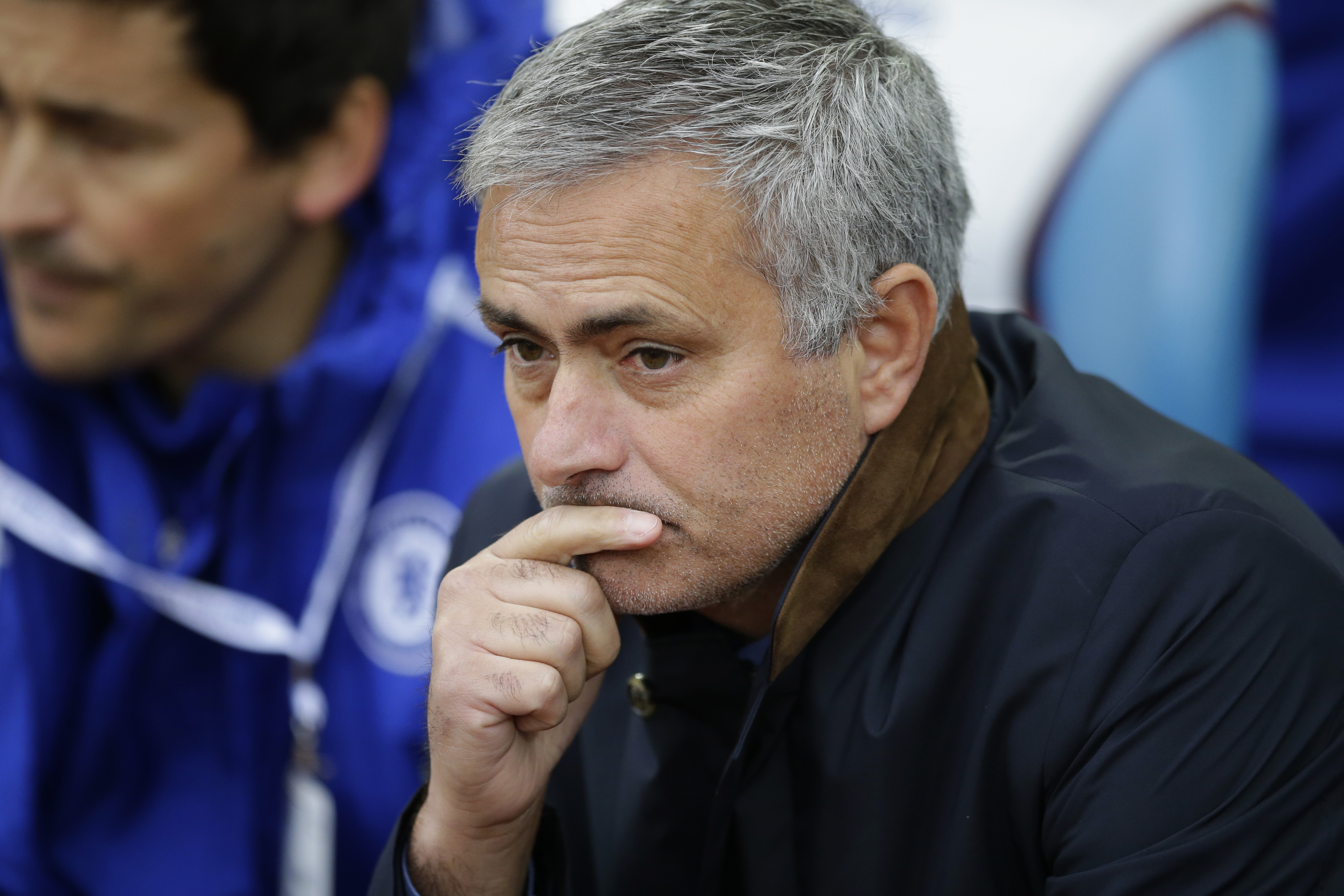 Chelsea's head coach Jose Mourinho waits for the English Premier League soccer match between West Ham and Chelsea to begin, at Upton Park stadium in London, Saturday, Oct. 24, 2015.  (AP Photo/Matt Dunham)