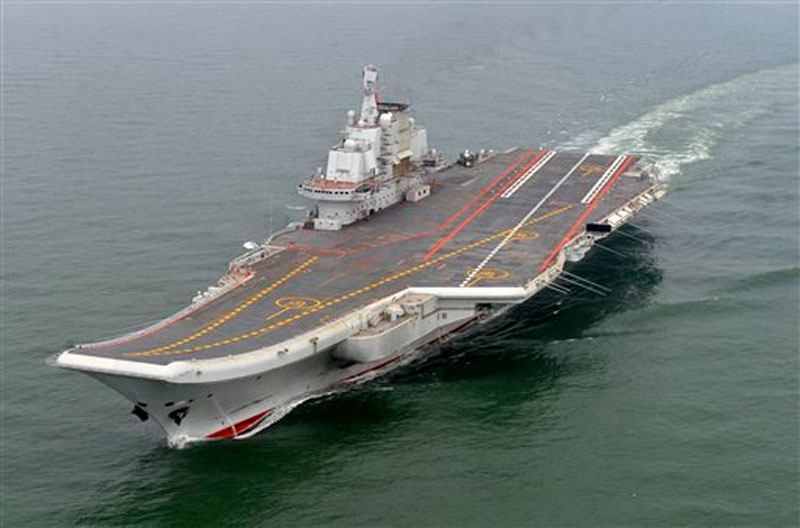 Chinese aircraft carrier Liaoning cruises for a test on the sea on May 2012. Photo: AP
