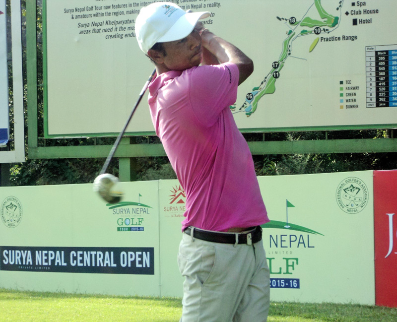 Bhuwan (umesh) Nagarkoti takes a shot in the third round of the Surya Nepal Central Open in Kathmandu on Wednesday. Photo: THT