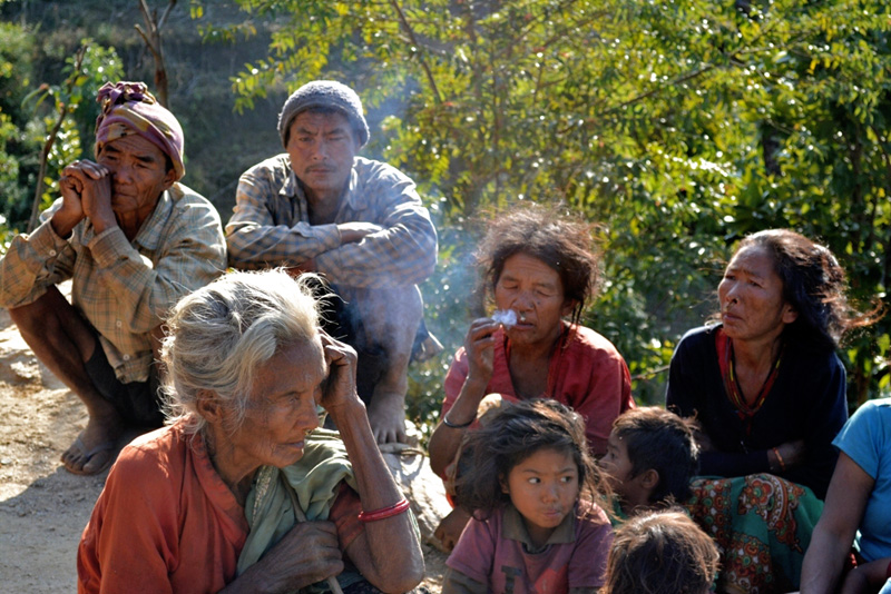 Members of the Chepang community, untouched by the upcoming Dashian festival, struggling to manage food and attire for their family, in Jogimara, Goirang of Dhading district on Sunday, October 18, 2015. Photo: Keshav Adhikari