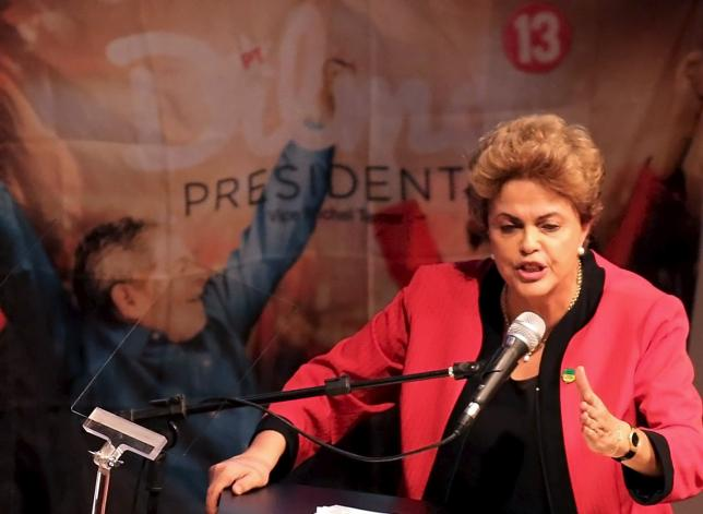Brazil's President Dilma Rousseff speaks during a Unified Workers' Central congress in Sao Paulo October 13, 2015.  REUTERS/Nacho Doce