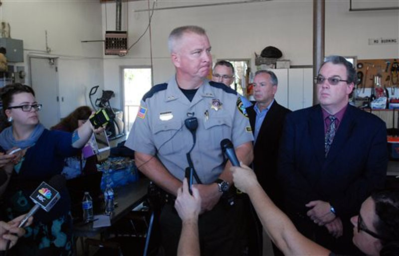 Douglas County Sheriff John Hanlin addresses the media following a deadly shooting at Umpqua Community College in Roseburg, Oregonon Thursday, Oct. 1, 2015. Photo: AP