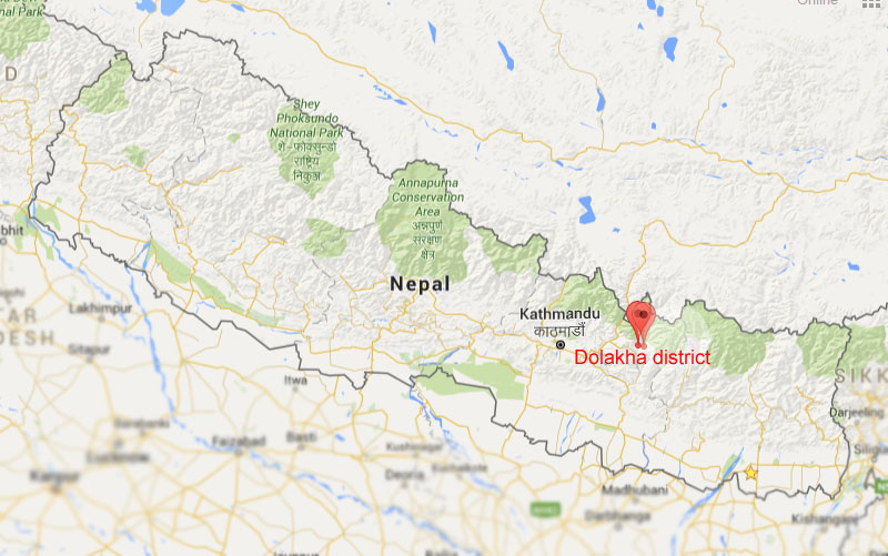 Epicentres of the tremors were in Dolakha District. Photo: Google/NSC
