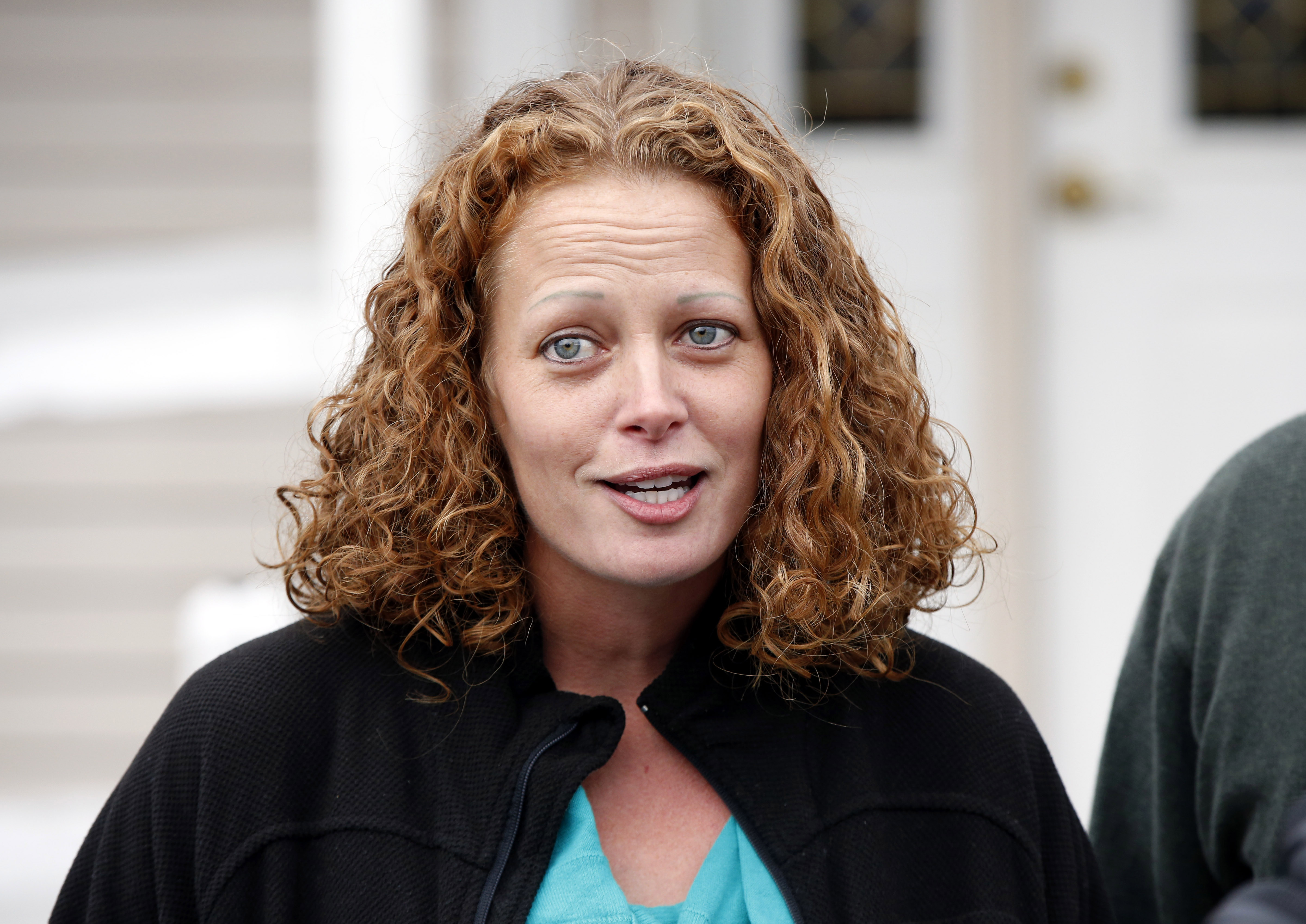 In this Oct. 31, 2014 file photo, nurse Kaci Hickox, speaks to the media outside her home in Fort Kent, Maine, after filing a lawsuit against the state of New Jersey. Photo: AP/ File