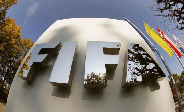 FIFA's logo is seen at its headquarters in Zurich, Switzerland October 3, 2015. REUTERS/Arnd Wiegmann/Files