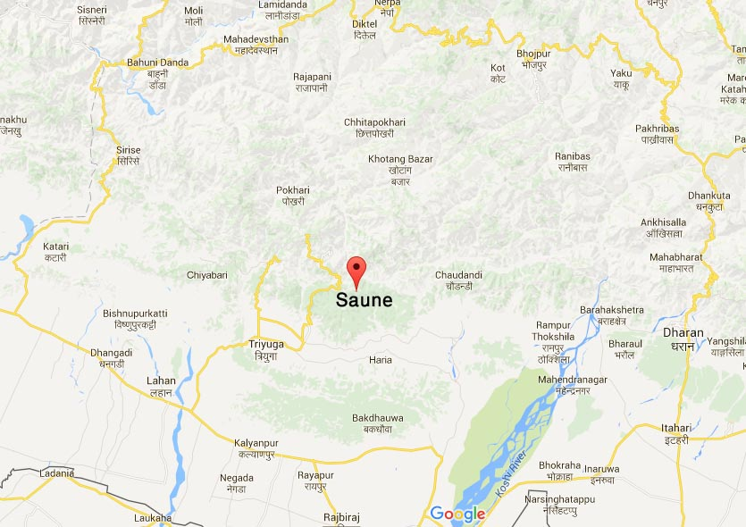 The bus met with accident at Saune of Udayapur. Google Maps