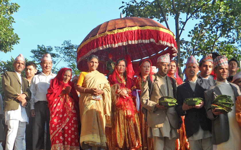 Preparations being made to take Phupati to the Gorkha Durbar in Gorkha on Tuesday, October 20, 2015. Photo: RSS