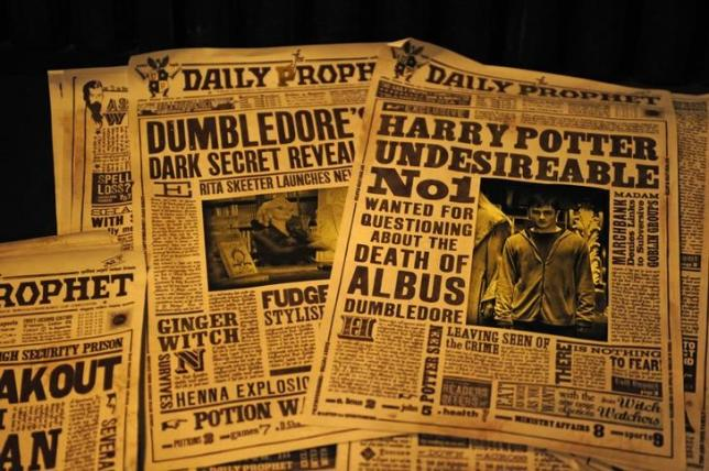 Newspapers from the fictional Daily Prophet are pictured during a media preview for The Wizarding World of Harry Potter-Diagon Alley at the Universal Orlando Resort in Orlando, Florida June 19, 2014. REUTERS/David Manning/Files