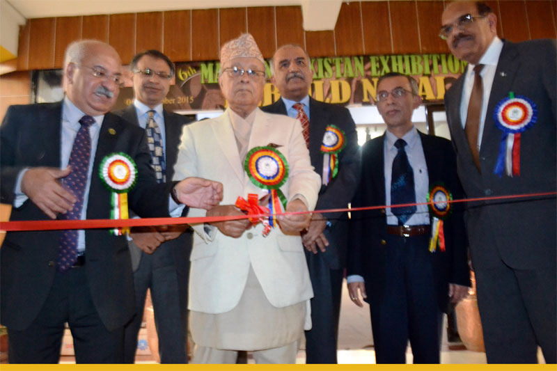 Former Governor Himalaya Shumsher Rana, also Chairman of the Nepal-Pakistan Friendship and Cultural Association, inaugurates the sixth 'Made in Pakistan Exhibition' in the United World Trade Centre in Kathmandu on Tuesday, October 06, 2015. Photo: RSSn