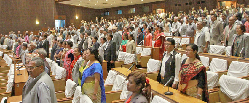 Parliamentarians observe silence at House meeting on Sunday to mourn the death of former lawmaker Chandra Bahadur Gurung. Photo: RSS