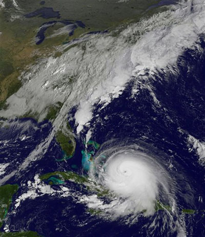 The satellite image released by the National Oceanic and Atmospheric Administration (NOAA)  shows Hurricane Joaquin taken on Thursday, October 1, 2015 at 9:37 a.m. EDT. Photo: AP
