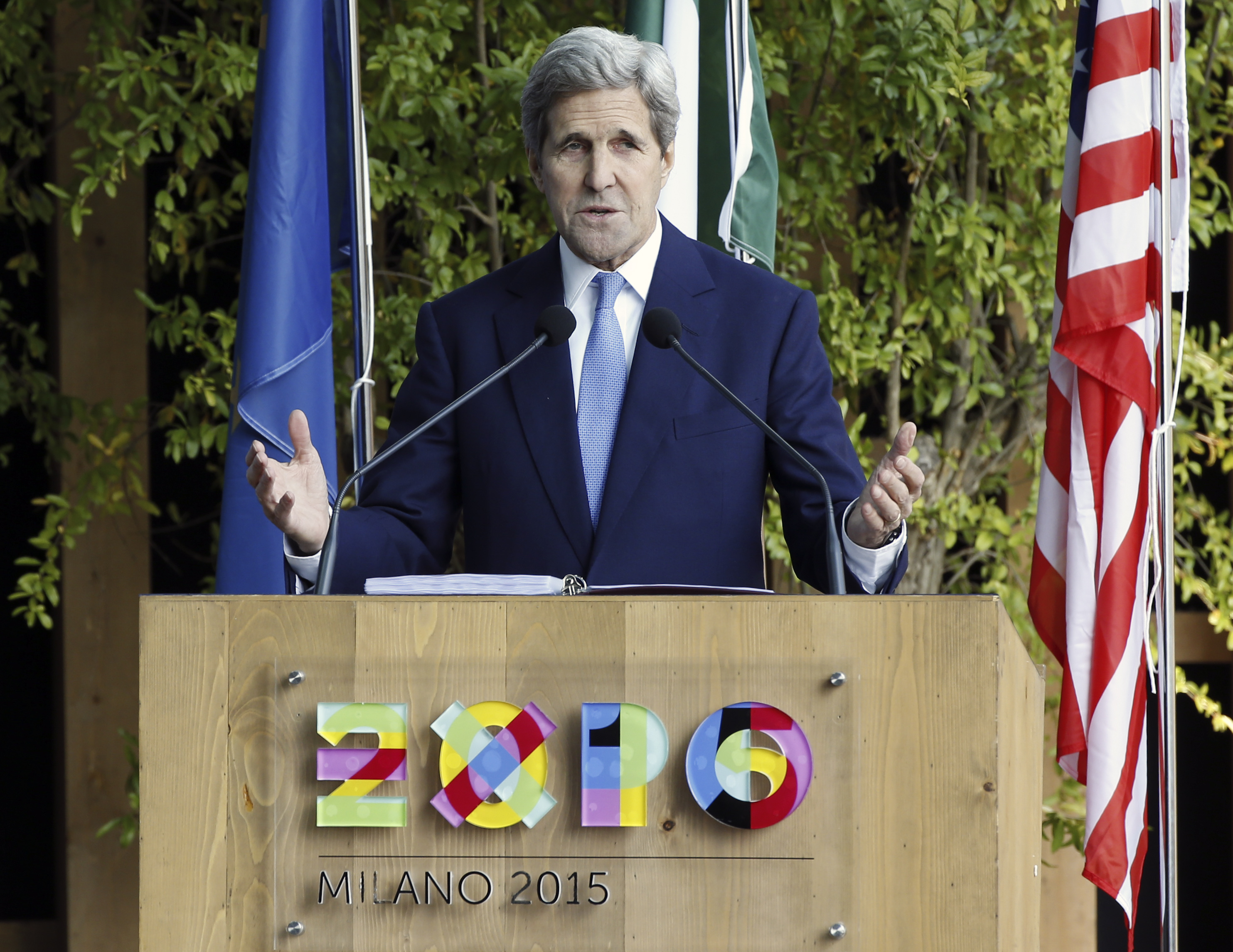 US Secretary of State John Kerry speaks at the Expo World's Fair taking place in Milan, Italy, Saturday, Oct. 17, 2015. (AP Photo/Luca Bruno)