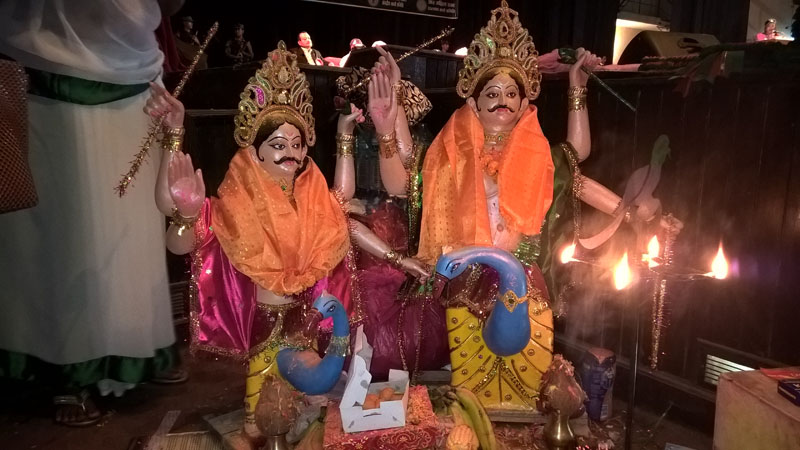 Orange shawls offered to the statues of Jitmahan , the deity who is worshiped in Jitiya festival of fast at Rastriya Nachghar on Monday, October 05, 2015 . Photo: Sureis