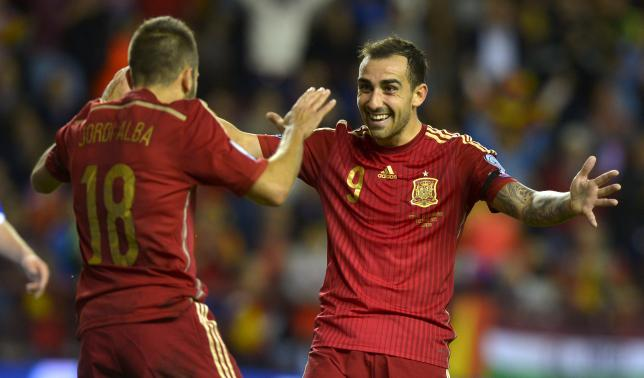 Spain's Jordi Alba (L) and Paco Alcacer celebrate a goal during their Euro 2016 Group C qualification soccer match against Luxembourg in Logrono, Spain October 9, 2015. REUTERS/Vincent West