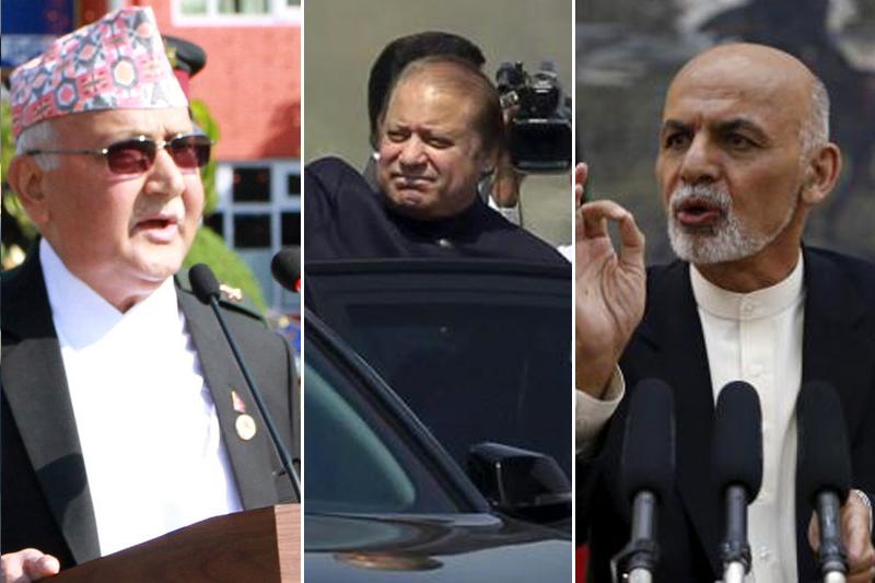 (From left) Prime Minister KP Sharma Oli, Prime Minister of Pakistan Nawaz Sharif and President of Afghanistan Ashraf Ghani. Photos: RSS/ Reuters