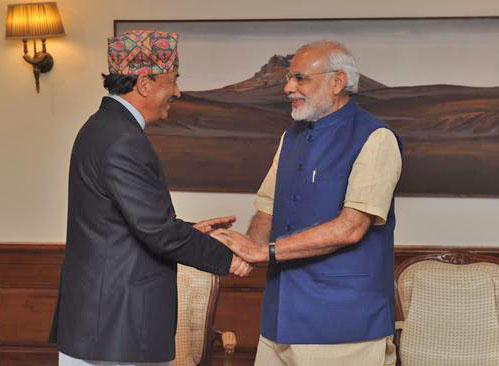 Nepal's Deputy Prime Kamal Thapa and India's Prime Minister Narendra Modi shake hands in New Delhi. Photo: PIB India
