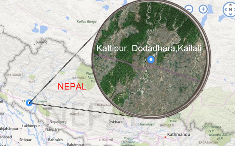Satellite image of Kattipur, Dodadhara-7 in Kailali district. Map: Here Maps, Bing maps