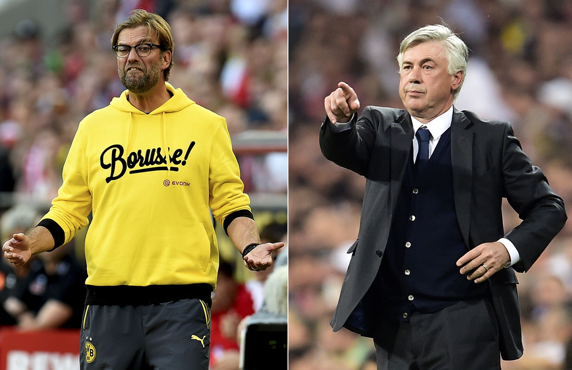 This combination picture shows former Borussia Dortmund coach Juergen Klopp (L) and former Real Madrid coach Carlo Ancelotti. Juergen Klopp and Carlo Ancelotti are the leading candidates to succeed sacked Liverpool manager Brendan Rodgers, according to reports in the British media on October 5, 2015.   AFP PHOTO/ GERARD JULIEN
