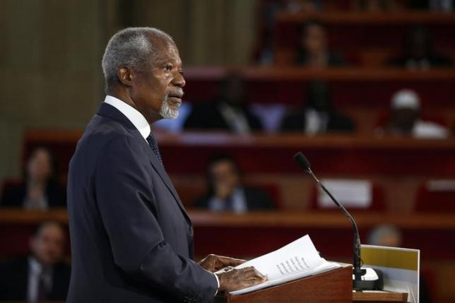 Former UN Secretary General Kofi Annan delivers a speech during the opening of the Summit of Conscience for the Climate in Paris, France, ahead of the COP21 summit July 21, 2015.  REUTERS/Etienne Laurent/Pool